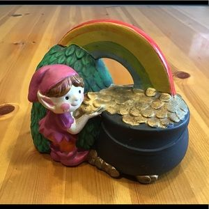 VINTAGE NAPCOWARE LEPRECHAUN 🌈 POT OF GOLD BANK